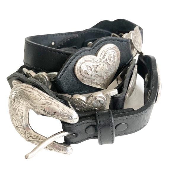 Tony Lama Western Linked Hearts Belt vintage USA